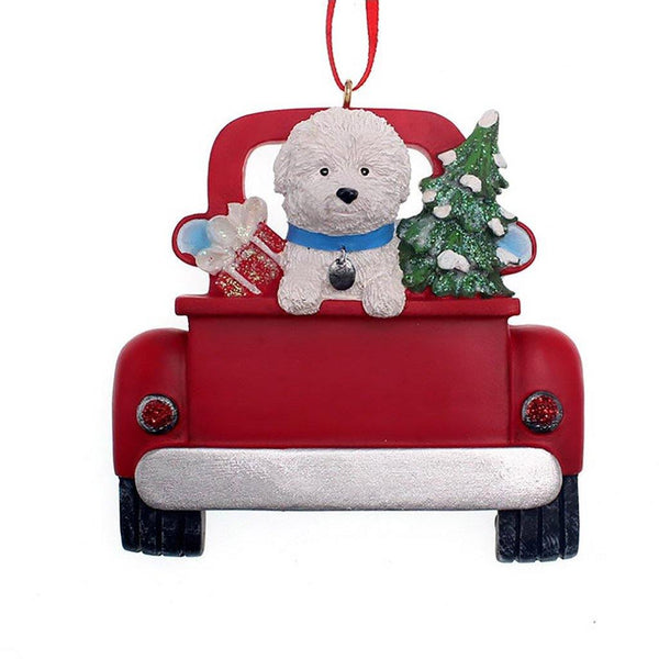 Kurt Adler : Bichon Frise In Back Of Truck Ornament For Personalization