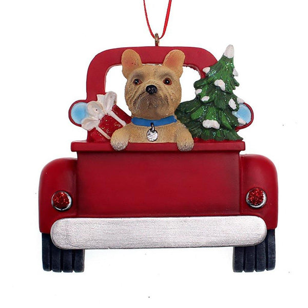 Kurt Adler : French Bulldog In Back Of Truck Ornament For Personalization