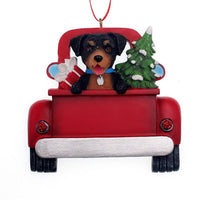 Kurt Adler : Rottweiler In Back Of Truck Ornament For Personalization