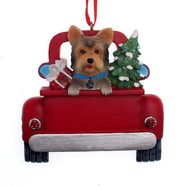 Kurt Adler : Yorkshire Terrier In Back Of Truck Ornament For Personalization
