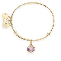 ALEX AND ANI : Crystal Birth Month Charm Bangle in Shiny Gold - June