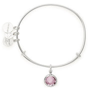 ALEX AND ANI : Birth Month Swarovski Charm Bangle in Shiny Silver - June