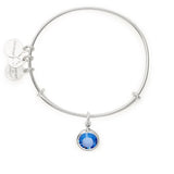 ALEX AND ANI : Birth Month Swarovski Charm Bangle in Shiny Silver - September