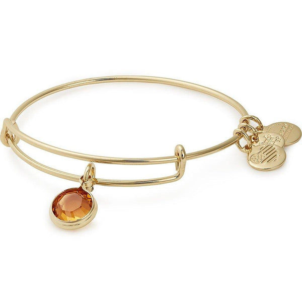 ALEX AND ANI : Birth Month Swarovski Charm Bangle in Shiny Gold - November