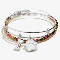 ALEX AND ANI : Dog Bone/Paw Print Set-of-2 Charm Bangles in Shiny Silver