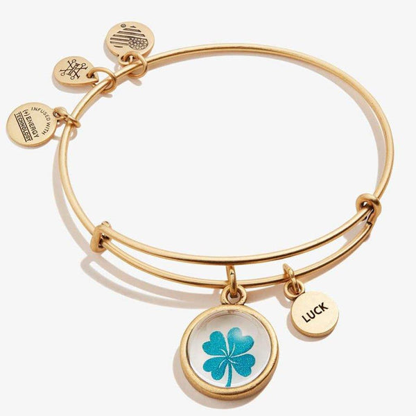 ALEX AND ANI : Four Leaf Clover & 'Luck' Mantra Duo Charm Bangle In Rafaelian Gold
