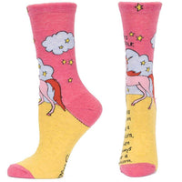"Blue Q : Women's Crew Socks - ""Always Be Yourself Unless You Can Be a Unicorn..."""