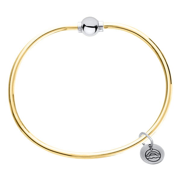 Cape Cod Beaded Bangle in 14kt Gold with Sterling Silver - Annie's Hallmark Baldoria
