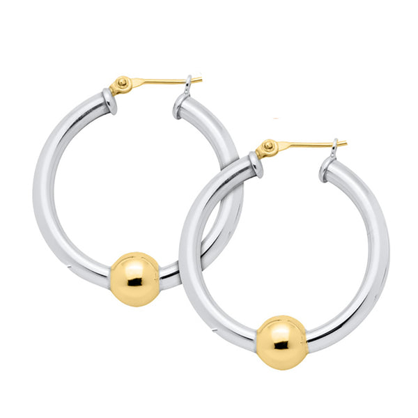 Cape Cod Large Beaded Hoop Earrings in Sterling Silver with 14kt Gold - Annie's Hallmark Baldoria