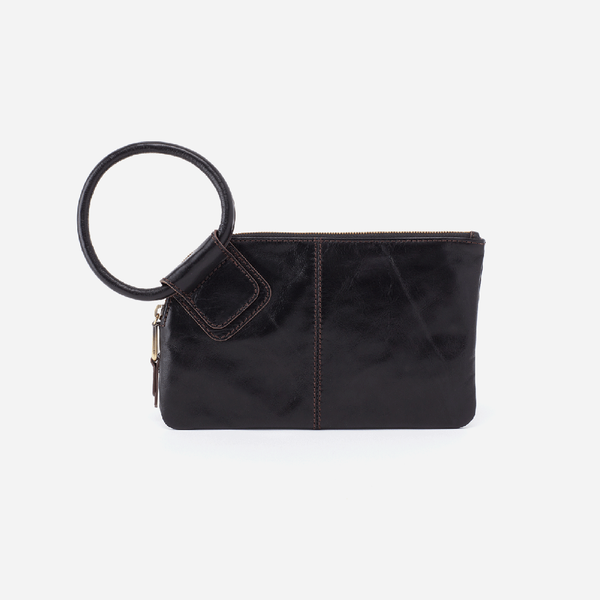 Hobo: Sable Black Leather Wristlet Clutch