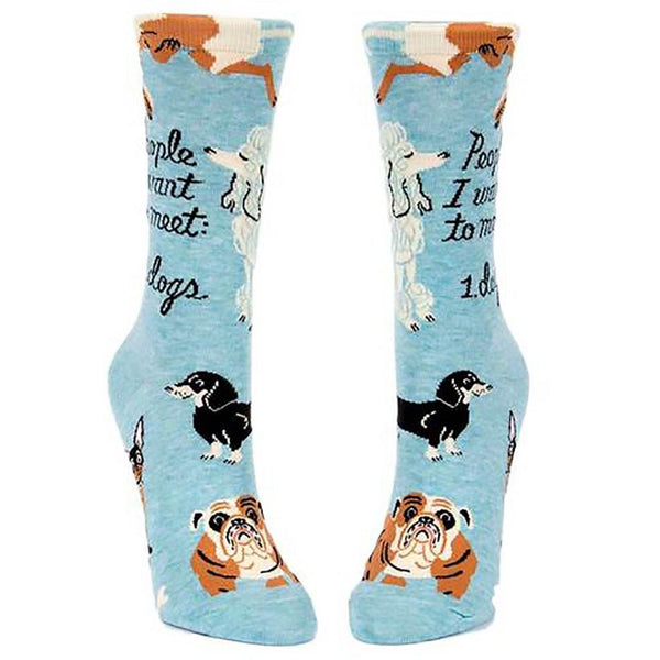 "Blue Q : Women's Crew Socks - ""People I Want to Meet: Dogs"""