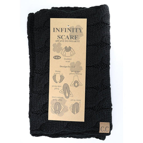 Solid Cable Knit CC Infinity Scarf - Black