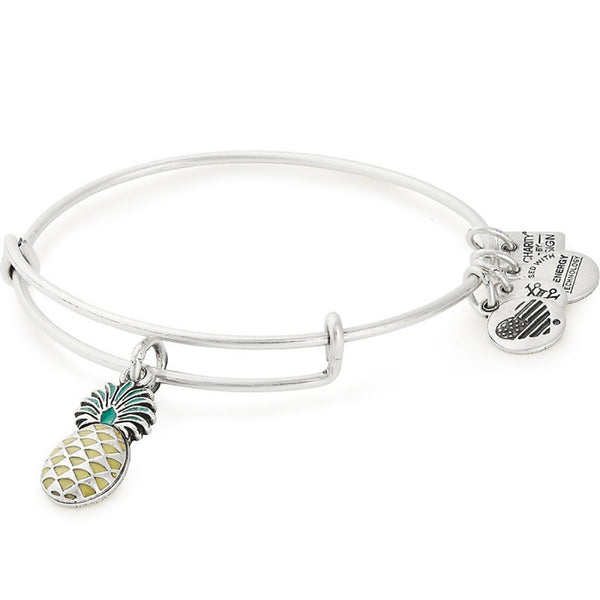 ALEX AND ANI : Pineapple Color Infusion Charm Bangle in Rafaelian Silver