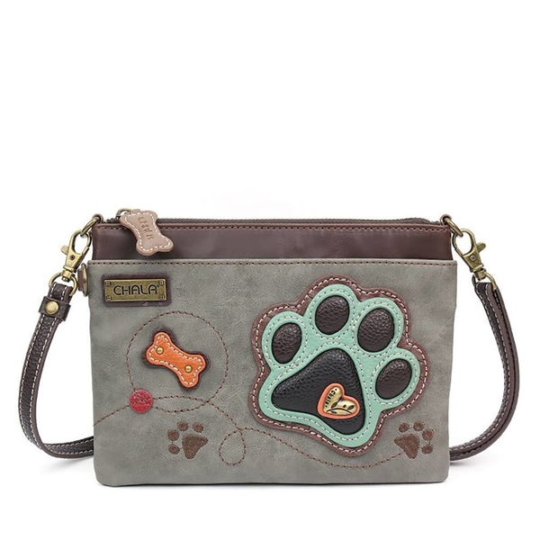 Chala : Paw Print Gray Mini Crossbody