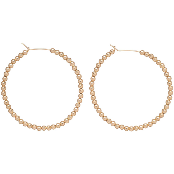 "enewton : 1.75"" 3mm Beaded Gold Hoop Earrings"