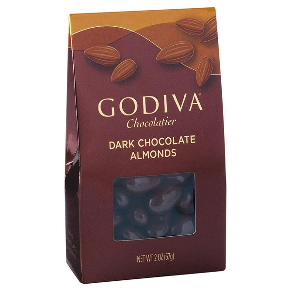 GODIVA : Godiva Dark Chocolate Almonds, Small Bag, 2 oz - Annie's Hallmark & Gretchen's Hallmark, Sister Stores