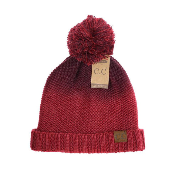 Fuzzy Lined Ombre CC Beanie - Burgundy