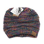Multi Tone Slouchy Ponytail CC Beanie - Black Multi Colored