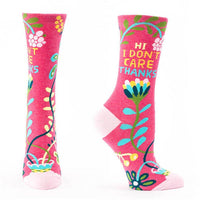 "Blue Q : Women's Crew Socks - ""Hi, I Don't Care, Thanks"""