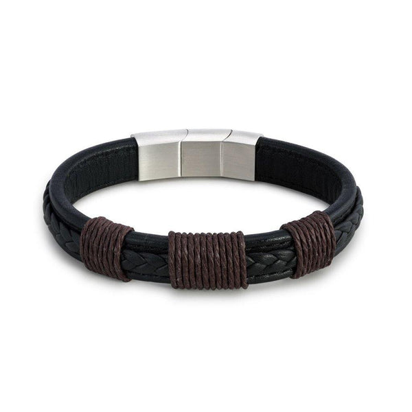 Demdaco : Journey Men's Black Leather Adjustable Bracelet