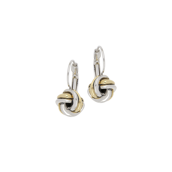John Medeiros : Infinity Knot Two Tone French Wire Earrings