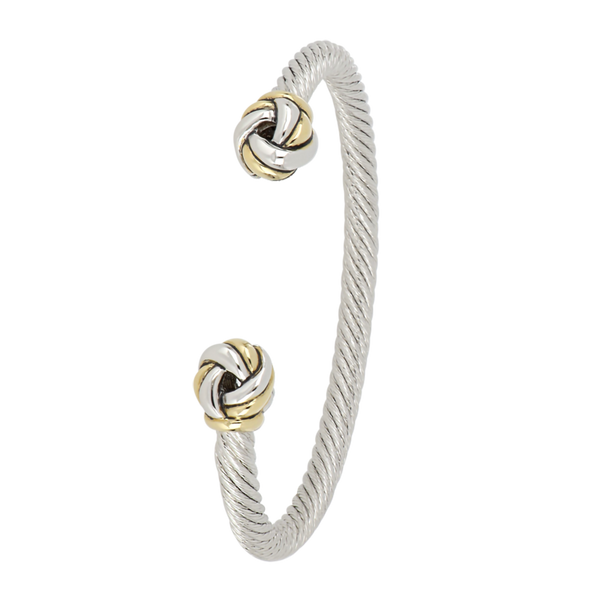 John Medeiros : Infinity Knot Two Tone Wire Cuff With Knot Ends