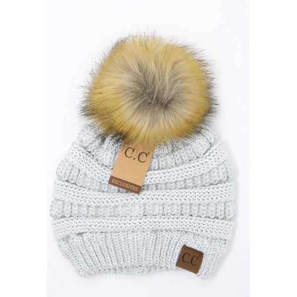 Metallic Fur Pom CC Beanie - Ivory and Silver
