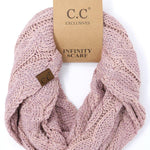 Metallic Cable Knit CC Infinity Scarf - Metallic Rose