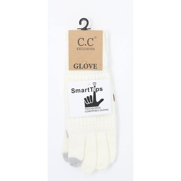 Solid Cable Knit CC Gloves - Ivory