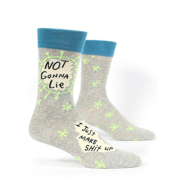 "Blue Q : Men's Crew Socks - ""Not Gonna Lie, I Just Make Sh*t Up"""