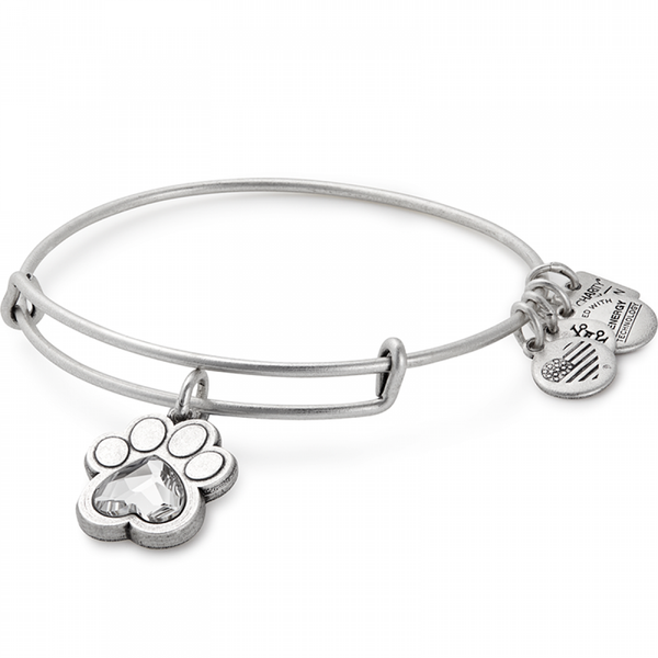 ALEX AND ANI : Prints of Love Charm Bangle in Rafaelian Silver