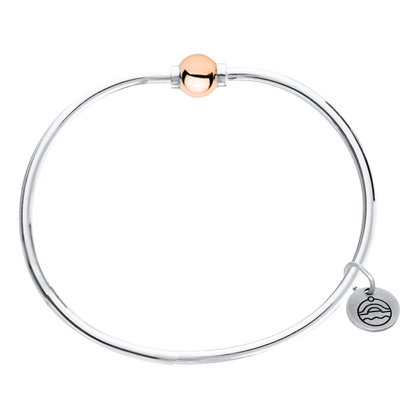 Cape Cod Beaded Bangle in Sterling Silver with 14kt Rose Gold - Annie's Hallmark Baldoria