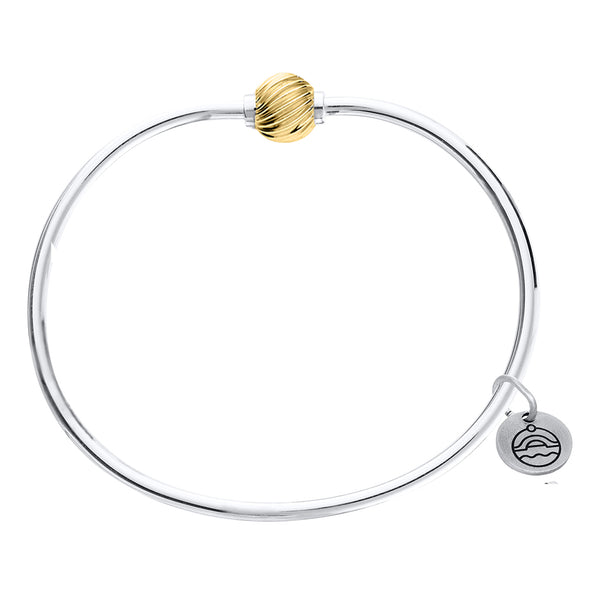 Cape Cod Swirl Beaded Bangle in Sterling Silver with 14kt Gold - Annie's Hallmark Baldoria