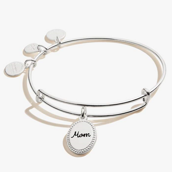 ALEX AND ANI : Mom, 'Bonded by Love' Charm Bangle In Shiny Antique Silver