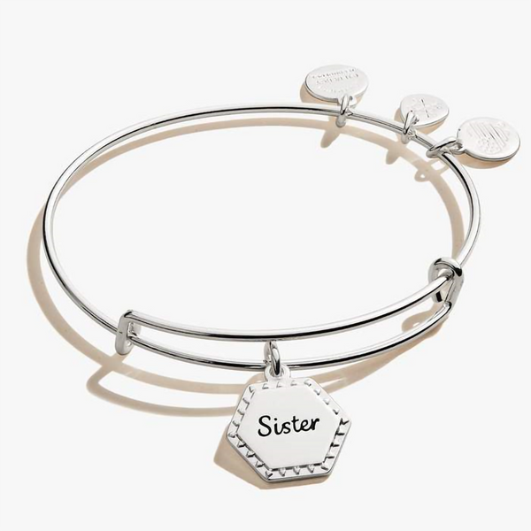 ALEX AND ANI : Sister, 'Woven Together' Charm Bangle In Shiny Antique Silver - Annie's Hallmark & Gretchen's Hallmark, Sister Stores