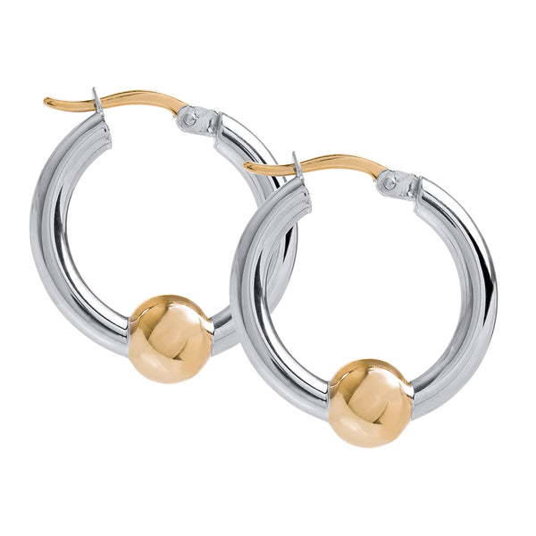 Cape Cod Small Beaded Hoop Earrings in Sterling Silver with 14kt Gold - Annie's Hallmark Baldoria