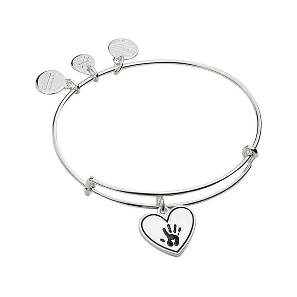 ALEX AND ANI : Forever Touched My Heart Charm Bangle In Shiny Antique Silver