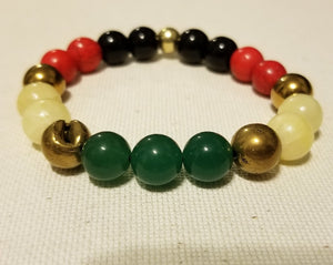 This bracelet poses immeasurable positivity, strength and Power.   Red - blood of black martyrs that were shed around the world during their struggle for liberation, equal rights, and justice.  Yellow - wealth of the homeland, Africa, particularly the gold.  Green - represents the beauty and the vegetation of the promise land, Ethiopia.  Bead Size: 8mm & 10mm