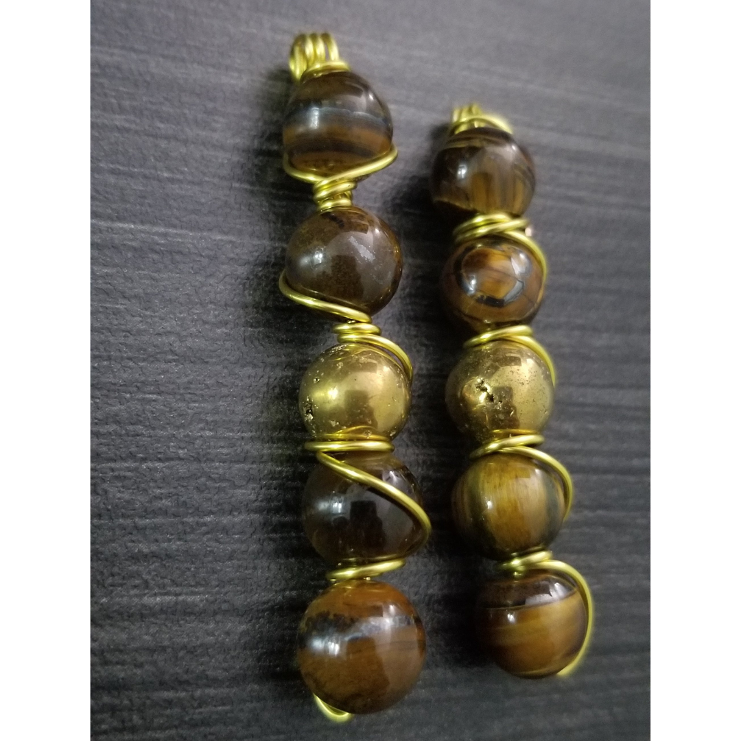 Tiger Eye Wire Wrapped Earrings