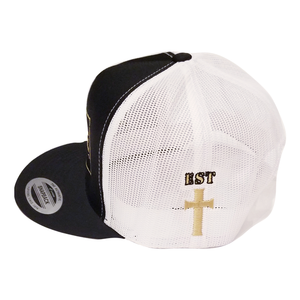 Disciple Trucker Hat Black & White with Cross