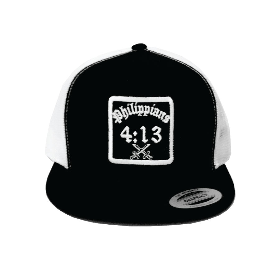 Trucker Hat black on white, Christian apparel.