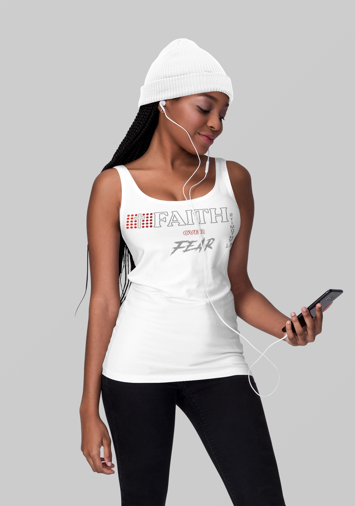 Faith over Fear: Adult Unisex White Tank