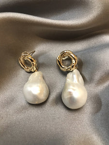 Flori - 18K Gold Plated Baroque Pearl Earrings