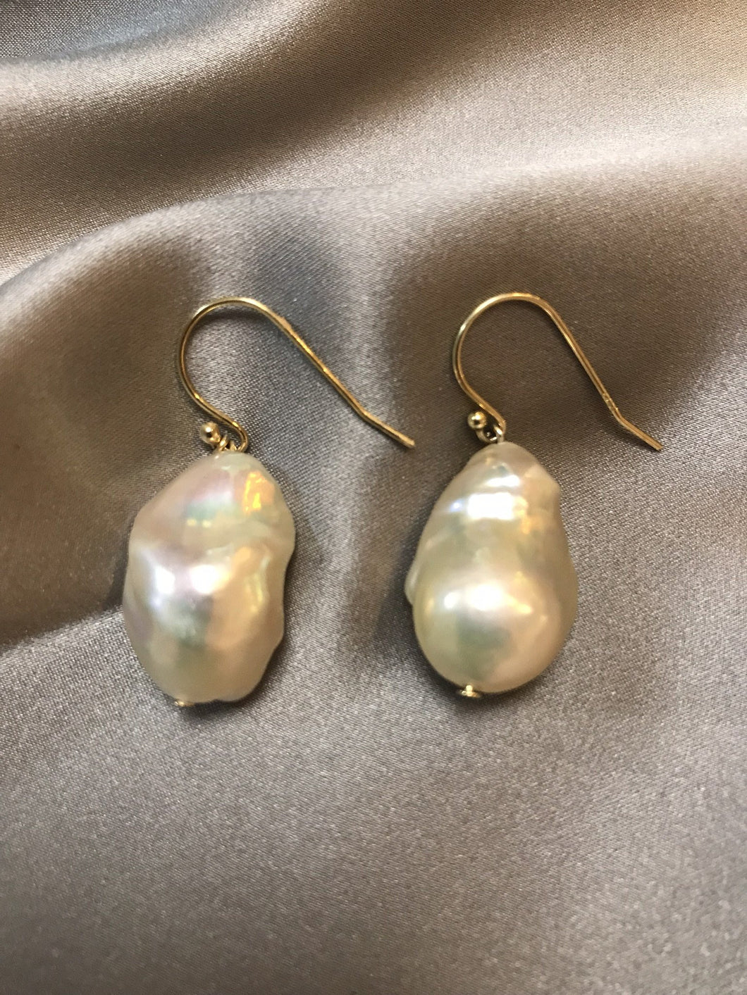 Aprica - 18K Gold or White Gold Plated Baroque Pearl Earrings