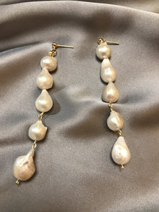 Amissus - 18K Gold Plated Baroque Pearl Earrings