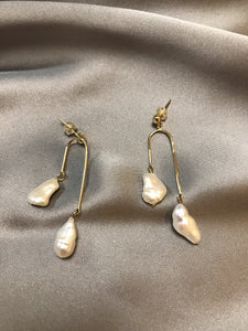Lilly - 14K Gold Filled Baroque Pearl Earrings