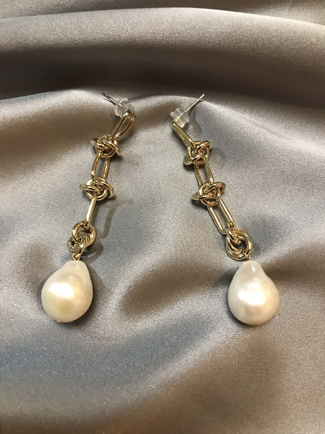 Knot - 18K Gold Plated Baroque Pearl Earrings