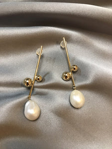 Aeris - 18K Gold Plated Baroque Pearl Earrings