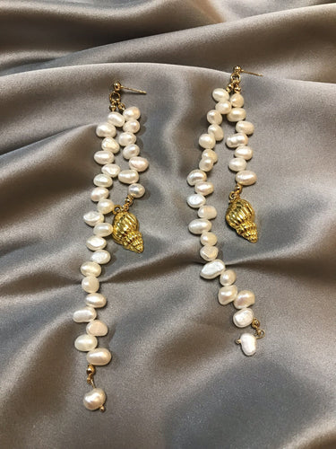 Aestas - 18K Gold Plated Baroque Pearl Earrings