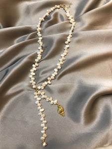 Aestas - Gold Plated Baroque Pearl Necklace